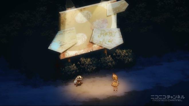夜の看板街灯前で休憩するカバンとサーバル