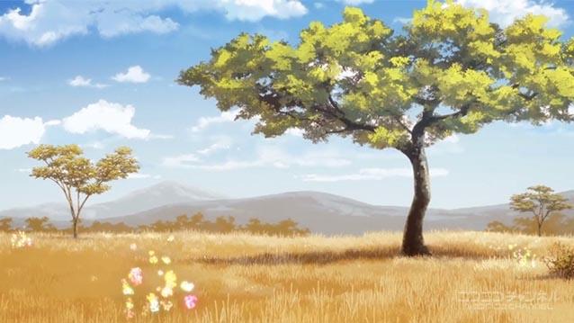 サバンナの風景。サンドスター。アカシア。