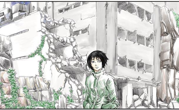 外出するユポ、辺りは瓦礫が散乱し廃墟となっている