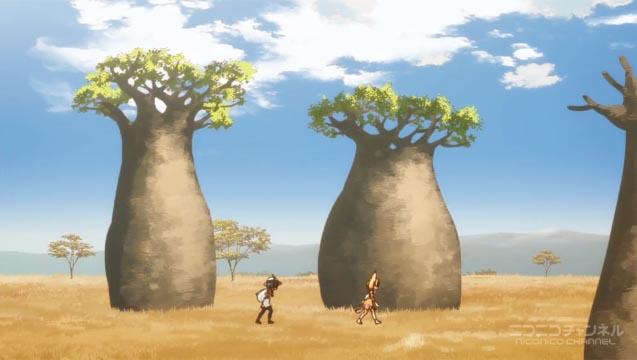 バオバブの疎林を行くサーバルとカバン